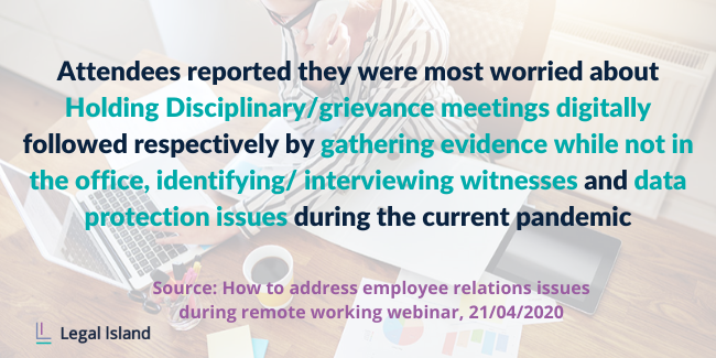 Attendees most worried about holding disciplinary / grievance meetings digitally